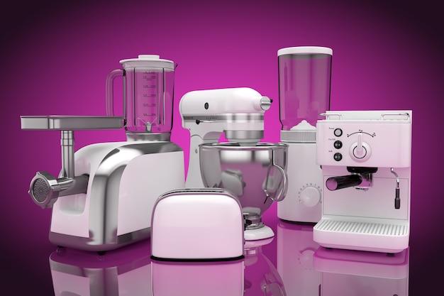 キッチン家電セット。ピンクの背景にホワイトブレンダー、トースター、コーヒーマシン、ミートジンダー、フードミキサー、コーヒーグラインダー。 3dレンダリング