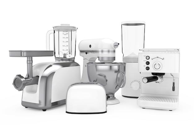 キッチン家電セット。白い背景に白いブレンダー、トースター、コーヒーマシン、ミートジンダー、フードミキサー、コーヒーグラインダー。 3dレンダリング