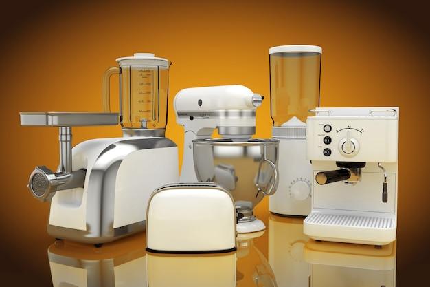 キッチン家電セット。オレンジ色の背景に白いブレンダー、トースター、コーヒーマシン、ミートジンダー、フードミキサー、コーヒーグラインダー。 3dレンダリング