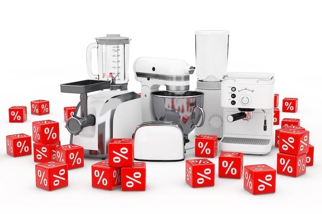 キッチン家電セット。白いブレンダー、トースター、コーヒーマシン、ミートジンダー、フードミキサー、コーヒーグラインダー、白い背景に赤い割引率のキューブ。 3dレンダリング