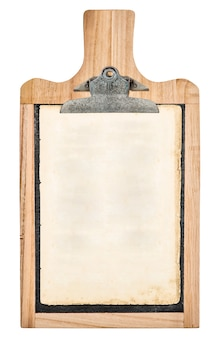 Kitchen board with clipboard for your text and recipe isolated on white background
