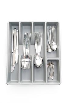 分離されたスプーン、フォーク、ナイフ用のカトラリー付きキッチンボックス
