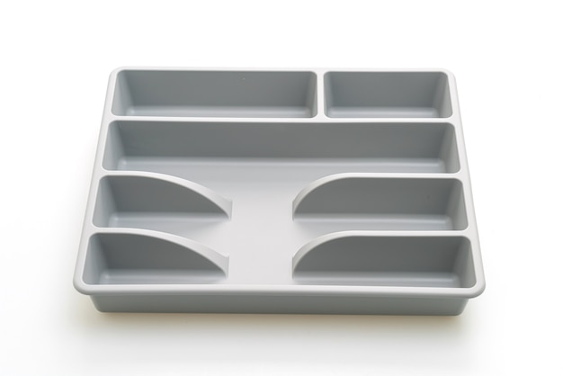 Kitchen box with cutlery for spoons, forks, knifes isolated
