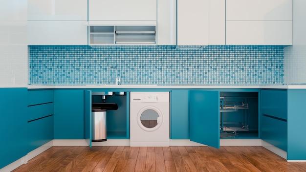 青のキッチンの明るい色合い。 3dレンダリングとイラスト。