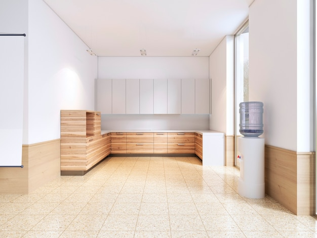 Kitchen in the classroom. 3d rendering.