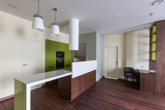 Kitchen combined with an office