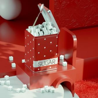 Набор кухонных контейнеров - сахар, контейнер для печенья, изолированные на фоне студии 3d иллюстрация