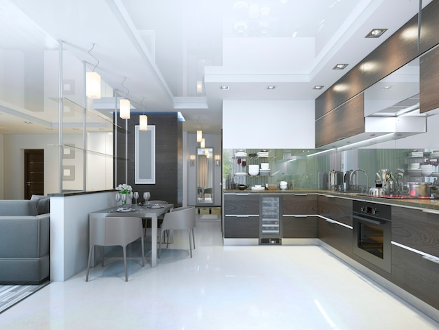Kitchen contemporary in brown with white walls and marble floors. 3d render.