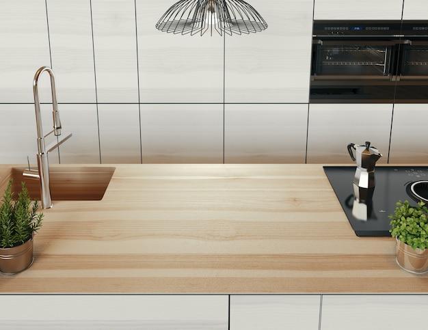 キッチンカウンター。豪華でモダンなリビングルーム、モダンなソファ。 3dレンダリングのイラスト。