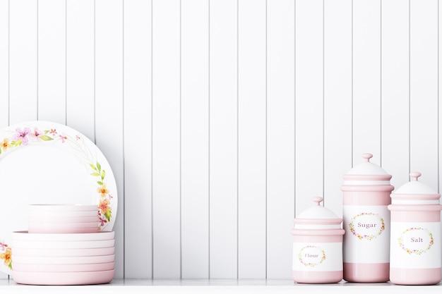 Kitchen decor on white wall background vintage style pink decor