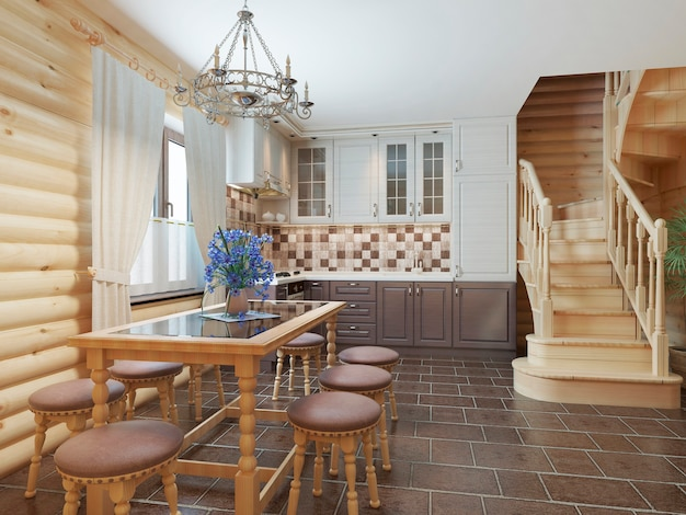 Kitchen and dining area in a log interior staircase to the second floor and a fireplace