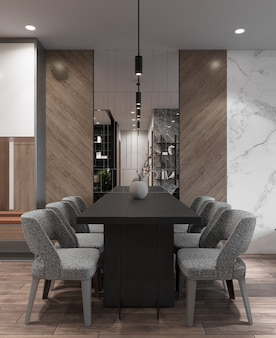 Kitchen dining room contemporary style with decorate wall