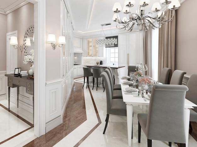 Kitchen dining room in light colors with gray furniture and marble floor.