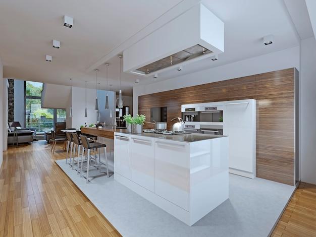 Кухня-столовая в современном стиле.