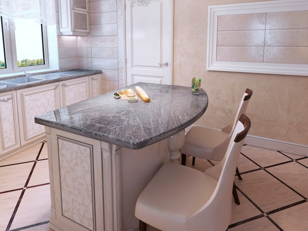 Kitchen for elegant people in art deco style