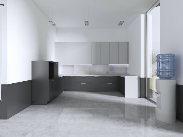 Kitchen furniture in the classroom. 3d rendering