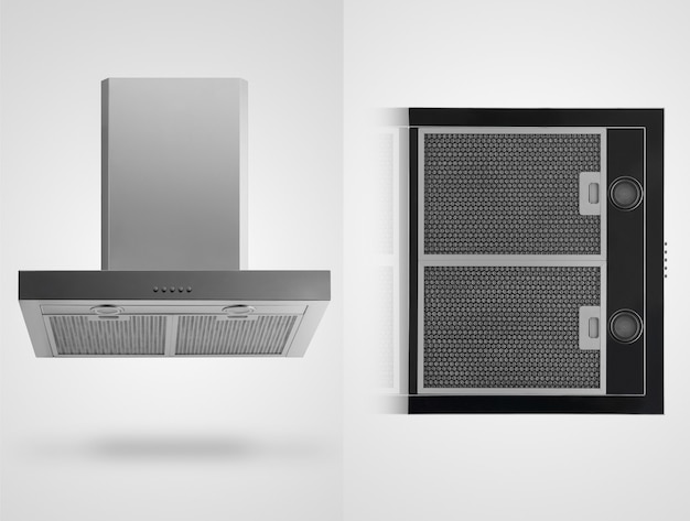 Kitchen hood in two angles on a white background. isolated