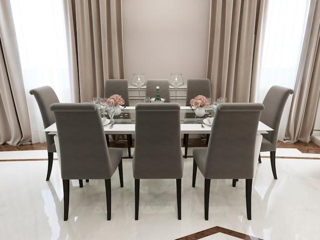 Кухня в классическом стиле с обеденным столом