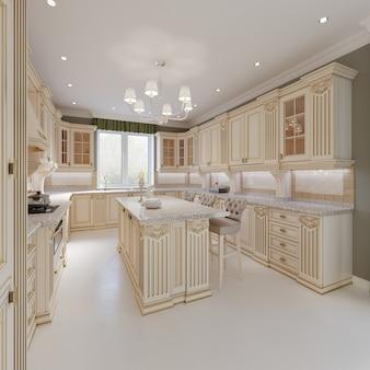 베이지색 가구, 3d 렌더링을 갖춘 고전적인 스타일의 주방 인테리어 및 식탁