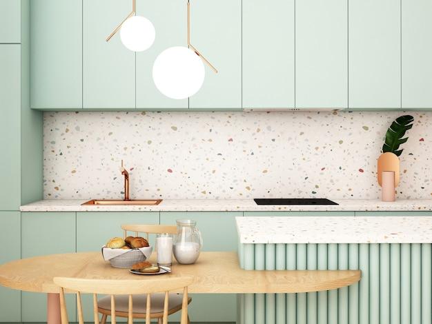 モダンなスタイルのキッチンインテリアデザイン3dレンダリング3dイラスト