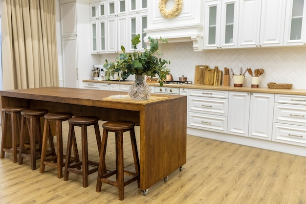 Kitchen interior design with wooden furniture