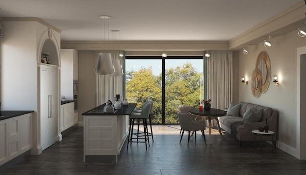 キッチン、インテリアの視覚化、3d