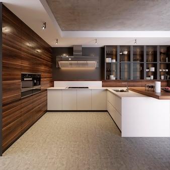 콘크리트 벽, 흰색 조리대 및 콘솔, 대형 창문, 콘크리트 바닥, 의자가 있는 바 스탠드가 있는 주방 인테리어. 3d 렌더링