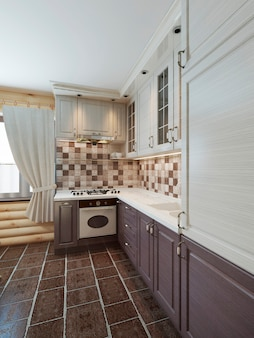 The kitchen in the log interior in a modern style of brown and white facades