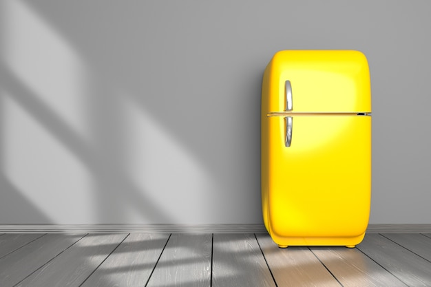 Kitchen mockup yellow refrigerator