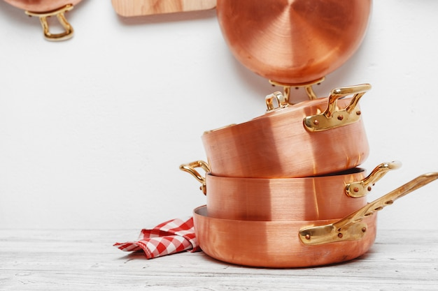 Kitchen for professional use with lots of copper pots