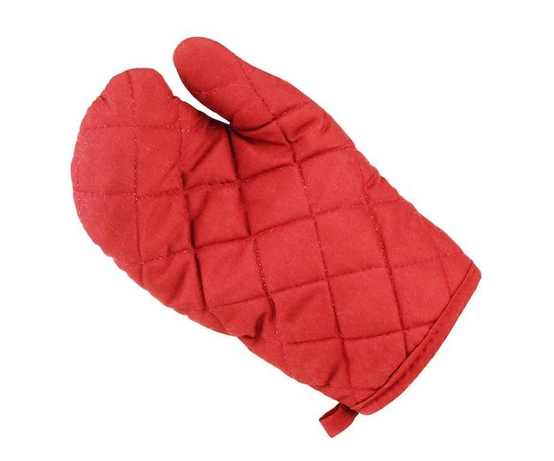 白い背景で隔離の手袋の形でキッチン赤い鍋つかみ
