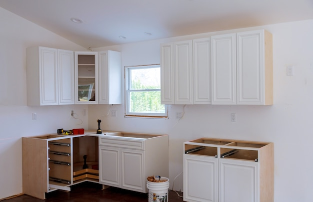 Kitchen remodel furniture installation cabinet