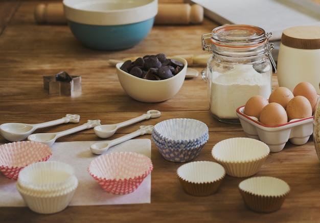 キッチンルームの準備自家製料理のコンセプト