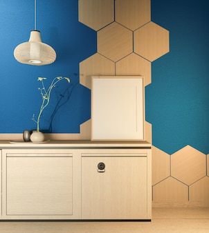 Kitchen room scene  with wooden counter kitchen and decoration on dark blue room hexagon tiles wall. 3d rendering