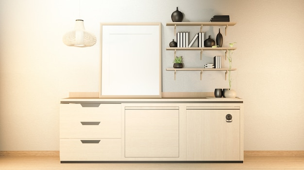 Kitchen room scene  with wooden counter kitchen and decoration on white room empty wall.3d rendering