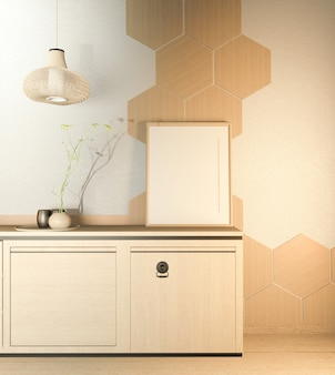 Kitchen room scene  with wooden counter kitchen and decoration on white room hexagon tiles wall. 3d rendering