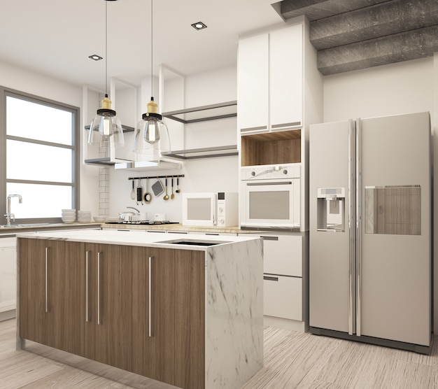 Кухня в современном стиле лофт в доме из бетона и дерева с диваном.