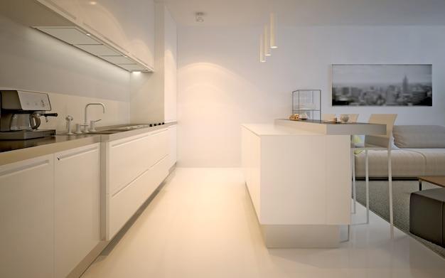 Кухня студия современного дизайна. ярко-белая кухня со столешницами цвета экрю, островная барная стойка со стульями. вечерний свет. 3d визуализация