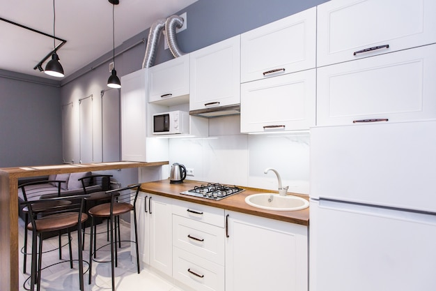 Kitchen studio modern style, in white