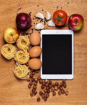 Kitchen. tablet and food