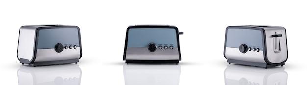반사, 세 가지 보기 각도가 있는 흰색 배경에 주방 토스터. 주방 액세서리