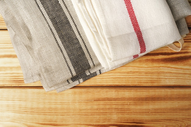 Kitchen towel over the wooden table