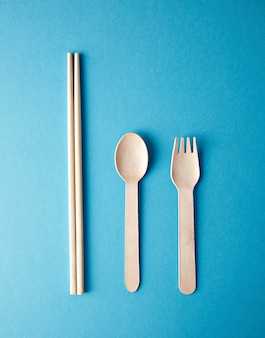 Kitchen utencils set for takeaway business: wooden recycling eco spoon