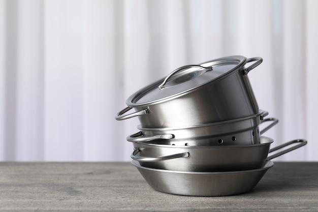 Kitchen utensil on gray textured table, selective focus.