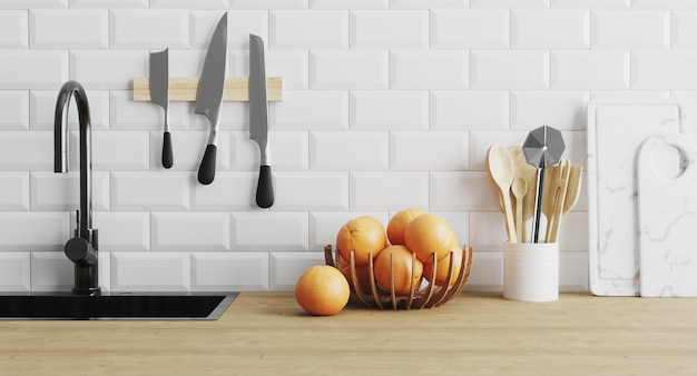 Kitchen utensils gadgets near sink on wooden surface and white tiled wall, kitchenware in kitchen concept, spoons, knives, cutting board, modern home kitchen concept, 3d render