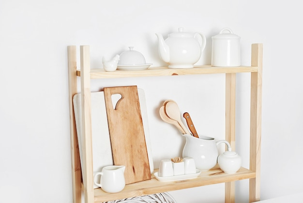 Kitchen utensils and tools on the shelf