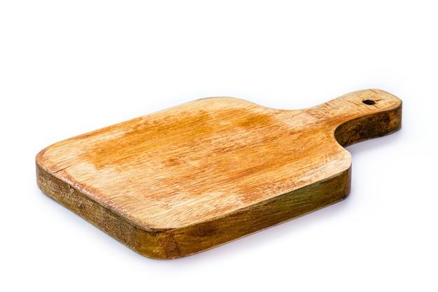 台所用品、ヴィンテージの木製まな板、孤立した白い表面