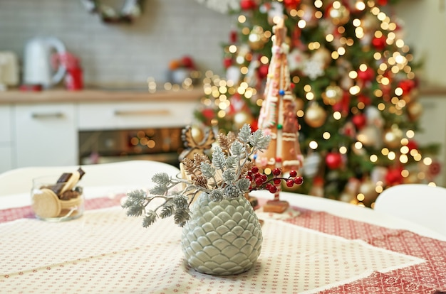 Kitchen with christmas decoration