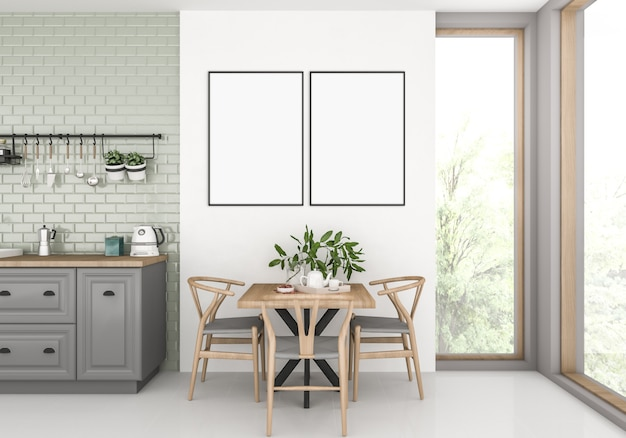 Kitchen with empty double frames