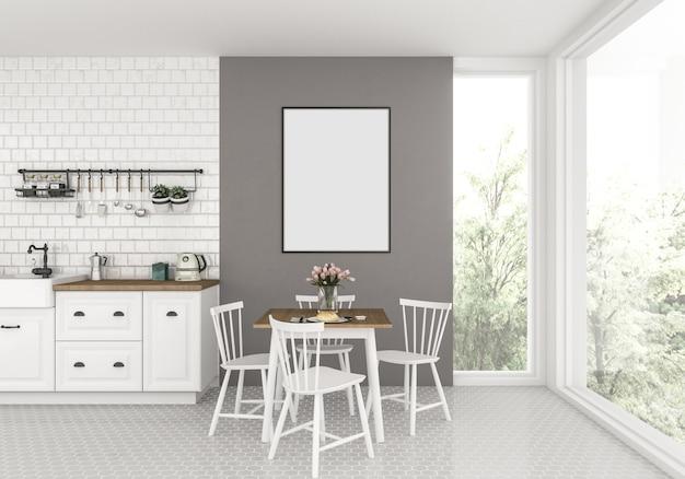 Kitchen with empty vertical frame, artwork background.